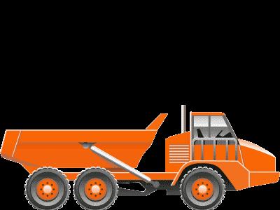 Camión extravial dumper articulado